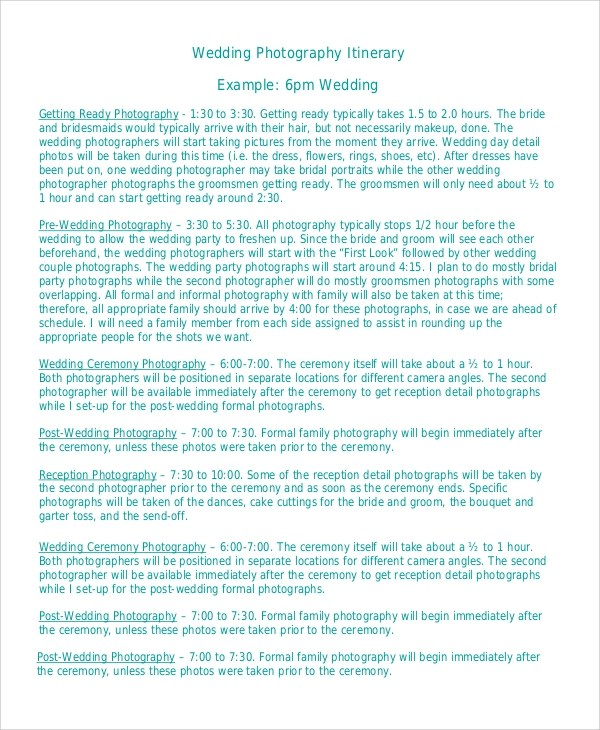 Sample Wedding Itinerary - 6+ Documents in PDF