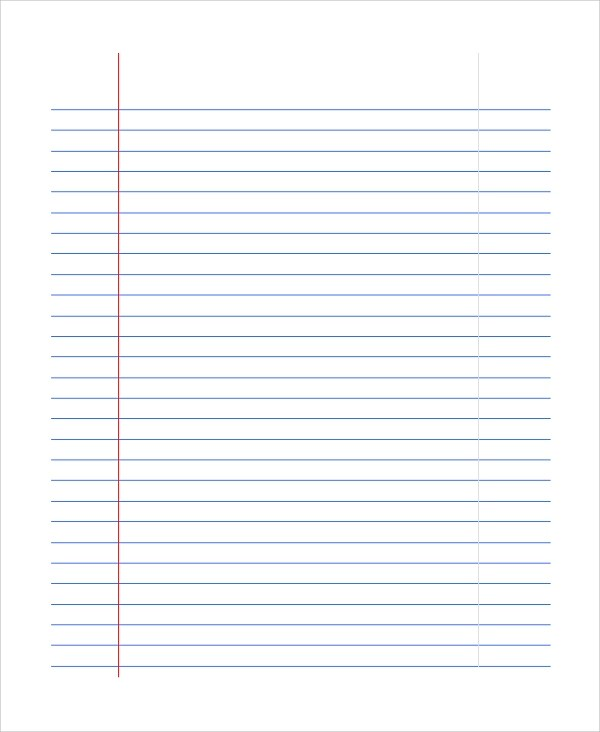 Sample Notebook Paper - 7+ Documents in PDf, Word - sample lined paper