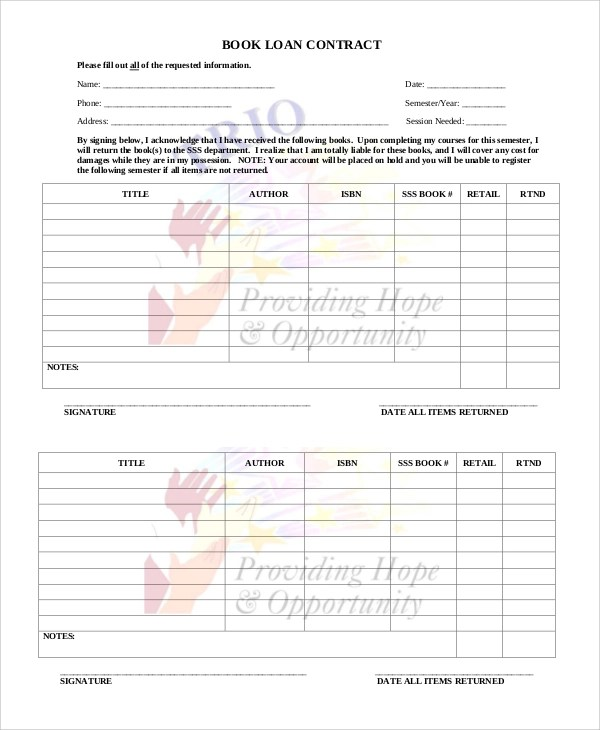 Sample Loan Contract - 8+ Examples in Word, PDF - lending contract template