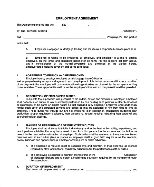 7+ Sample Real Estate Employment Agreements Sample Templates - dentist employment agreement