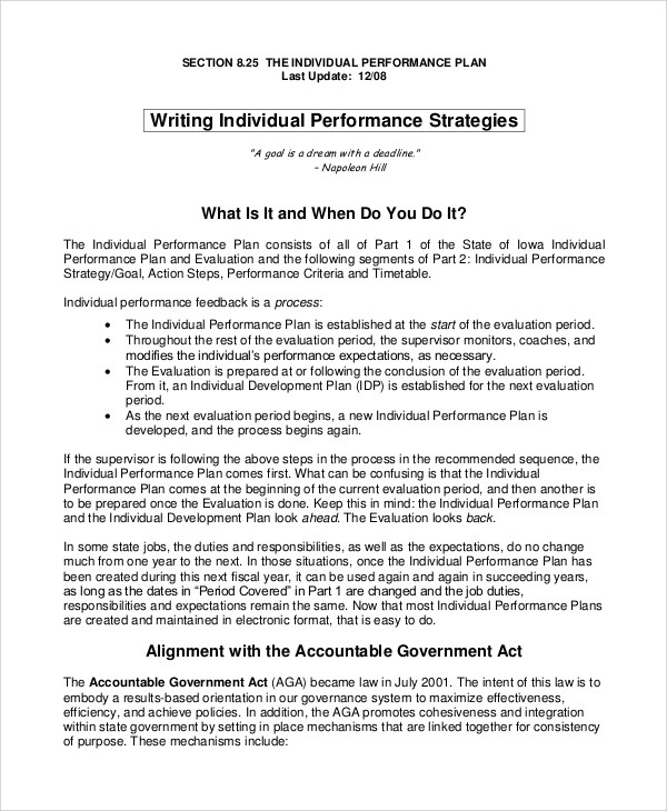 Sample Evaluation Plan Sample Individual Performance Plan Sample - performance plan