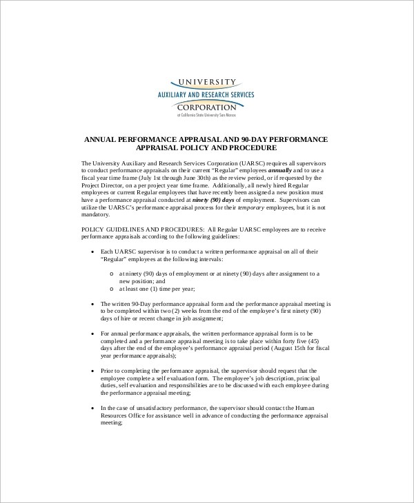 Sample Performance Appraisal - 6+ Documents in Word, PDF - conduct employee evaluations
