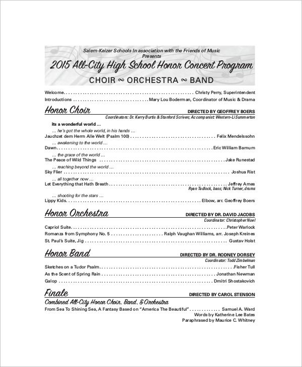 9+ Sample Concert Programs - PDF, PSD, Word, Illustrator