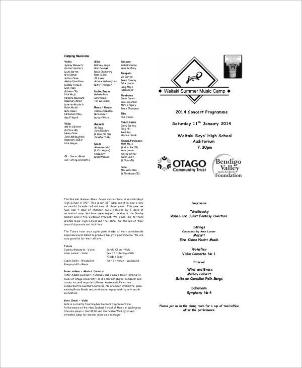music concert program template