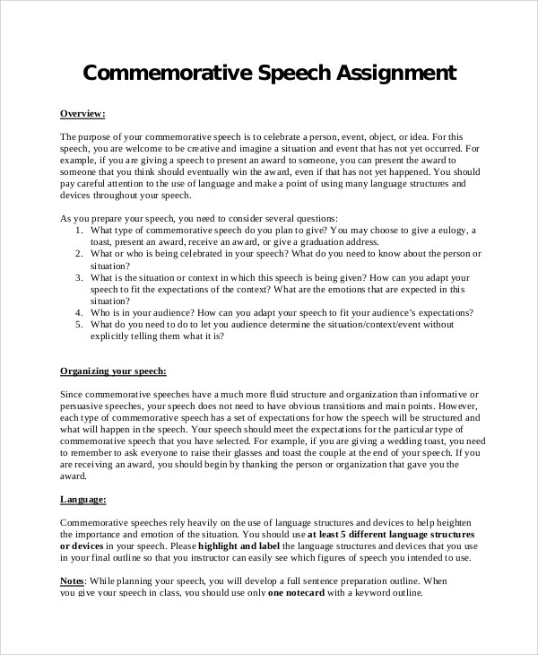 7+ Commemorative Speech Samples Sample Templates
