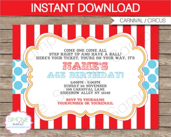 12+ Circus Party Invitations Sample Templates - Circus Party Invitation