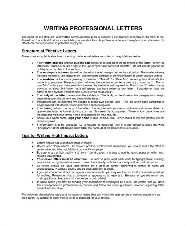 8+ Sample Letter Writings Sample Templates