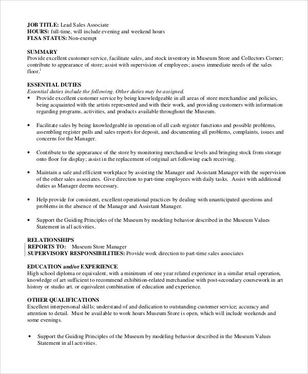 retail associate job duties