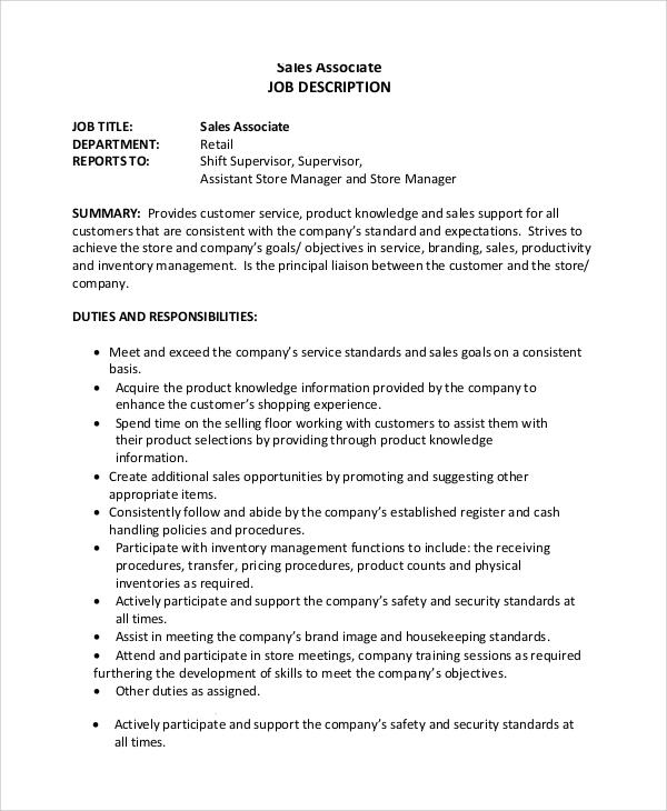 7+ Sample Sales Associate Job Duties Sample Templates