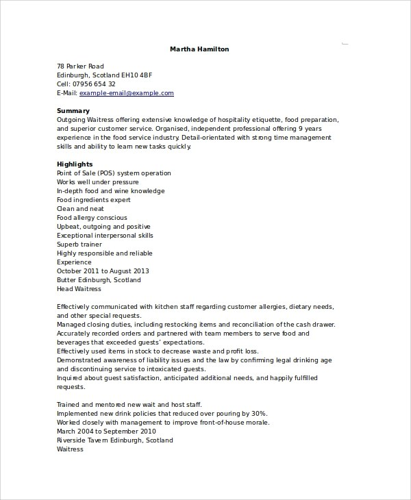 Resume Template For Waitress 6+ Waitress Resume Samples, Examples, Templates