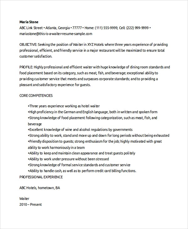 Sample Waitress Resume - 5+ Documents in PDF, Word - waiter resume