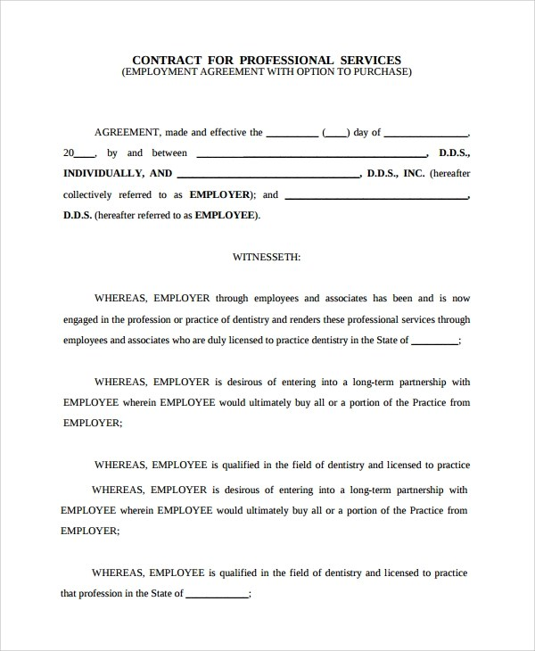 Sample Dentist Employment Agreement - 7+ Documents in Word, PDF - job agreement contract