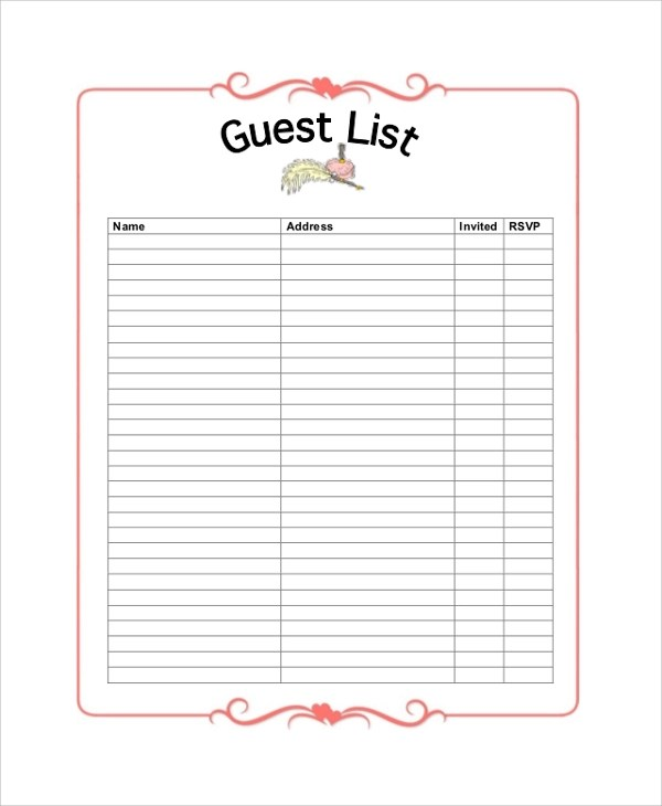 Sample Wedding Guest List - 7+ Documents in PDF, Word, Excel