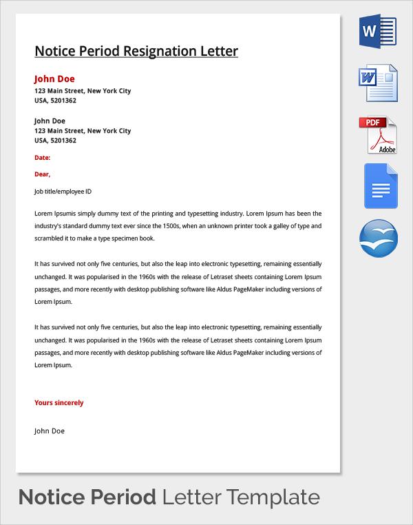 9+ Sample Notice Period Resignation Letters Sample Templates - notice period resignation letter