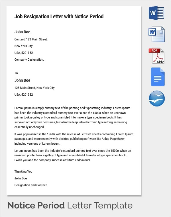 9+ Sample Notice Period Resignation Letters Sample Templates - professional resignation letter sample with notice period
