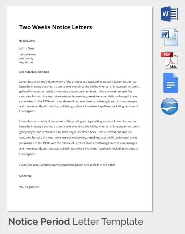 Resignation Letter Waive Notice Period  Resume Outline Tips