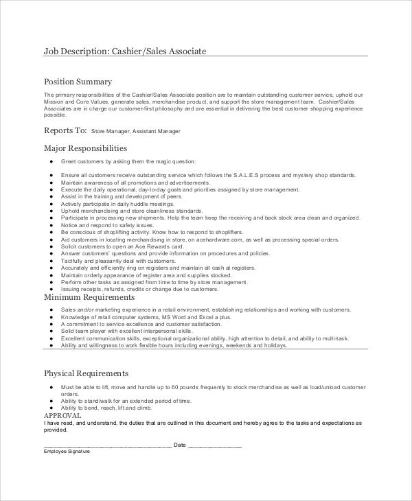cashier job description sample