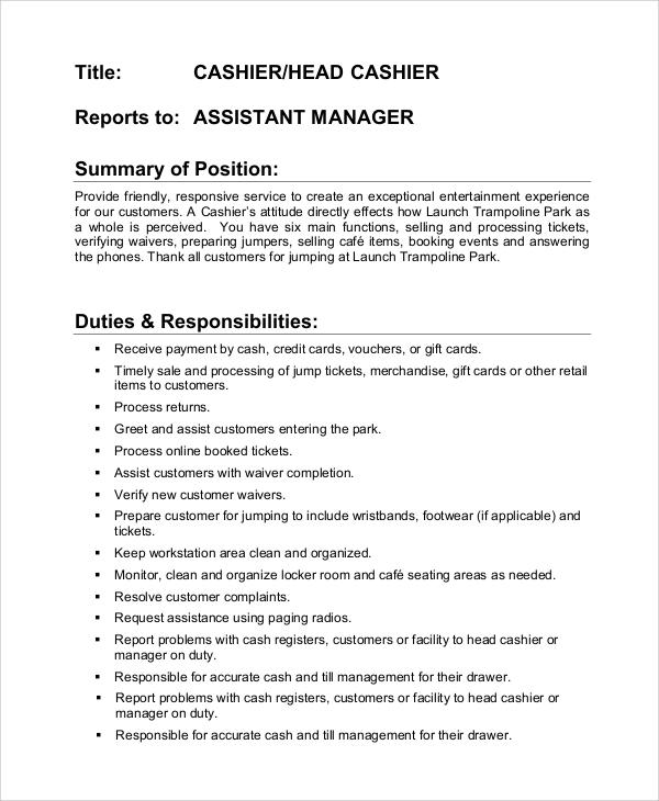 8+ Sample Cashier Job Duties Sample Templates