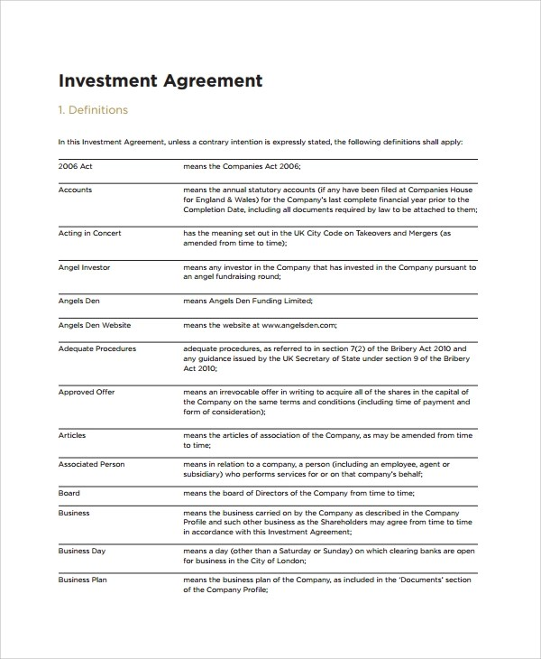 Sample Business Investment Agreement - 8+ Documents in PDF, Word - business agreements