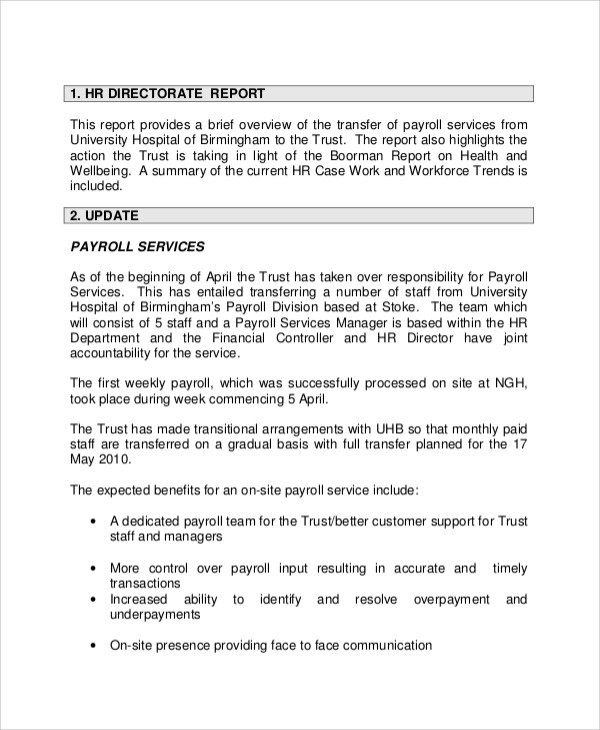 Sample Board Report - 5+ Documents in PDF - hr report