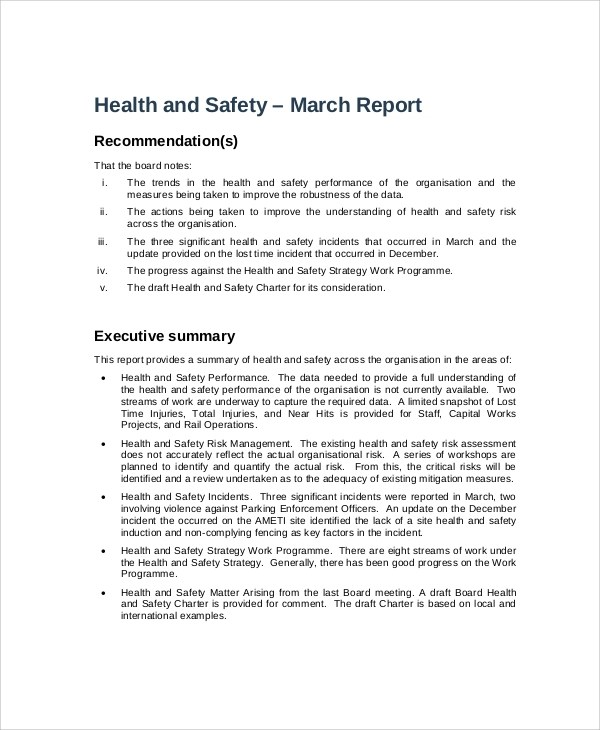 Safety report sample hitecautous for Annual health and safety report template