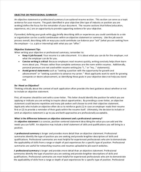 8+ Sample Job Objective Statements Sample Templates - job summaries