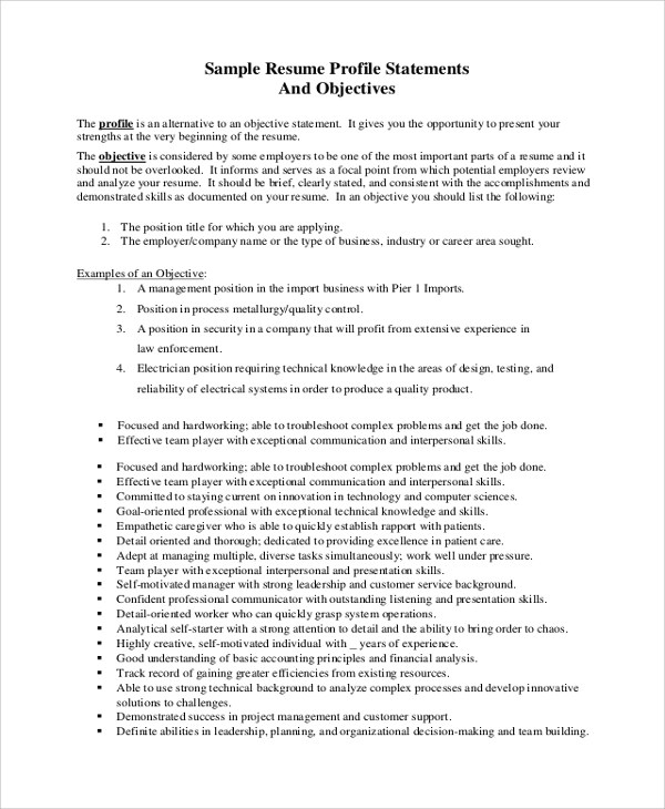 Sample Job Objective Statement - 7+ Documents in PDF, Word