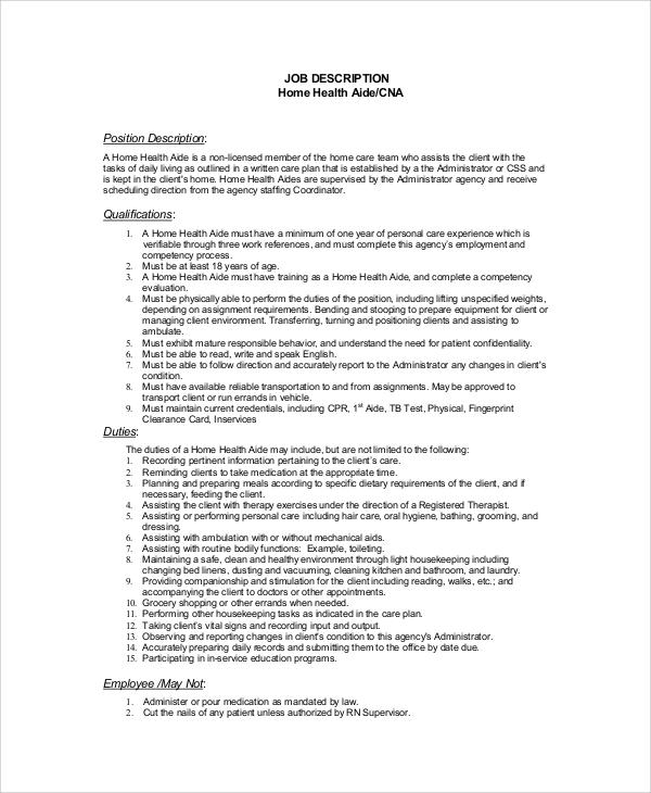 8+ Sample CNA Job Duties Sample Templates