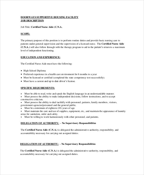 Cna Job Description Certified Nursing Assistant Resume Sample No