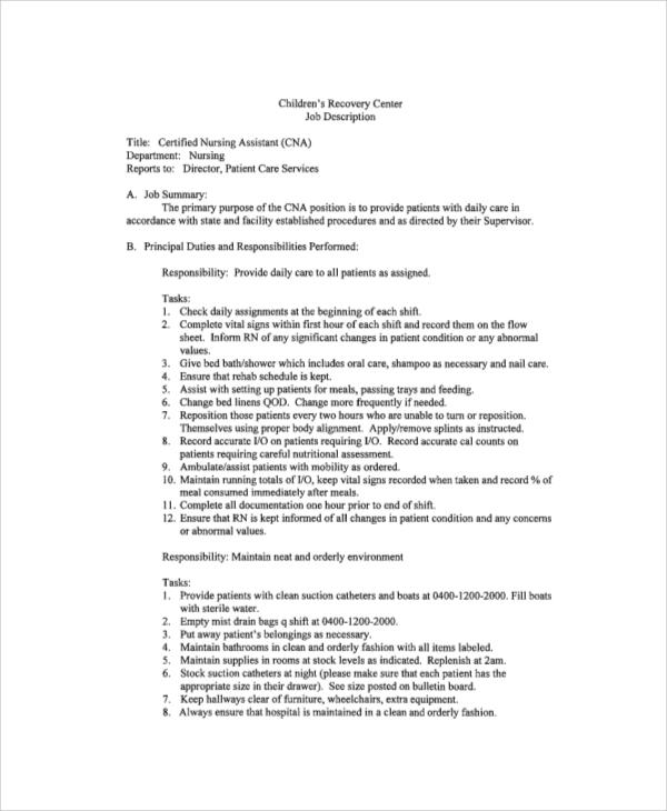 8+ Sample CNA Job Duties Sample Templates - Nursing Assistant Job Description