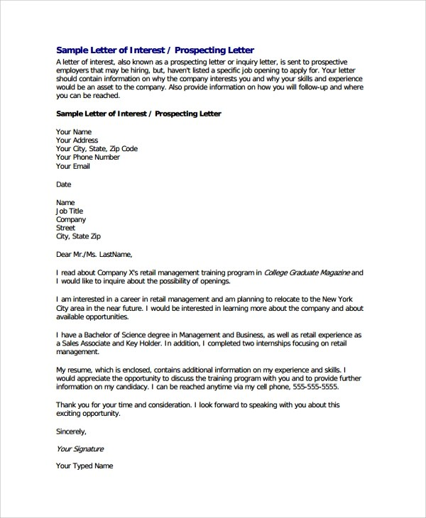 20+ Sample Letter of Interests - PDF, DOC