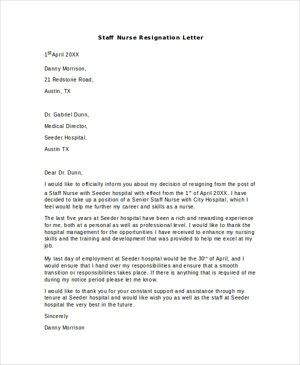 Staff Nurse Resignation Letter Pdf  Best Resume For College Student