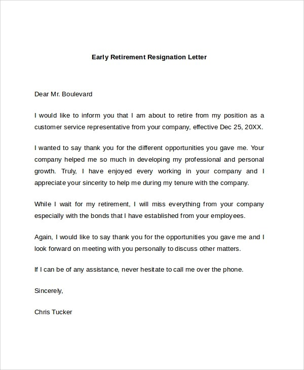 7+ Sample Retirement Resignation Letters Sample Templates