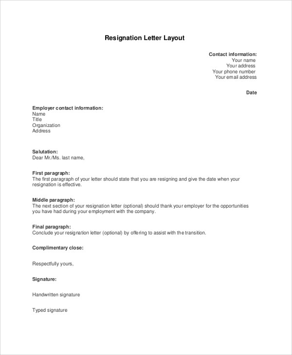 7+ Sample Email Resignation Letters Sample Templates