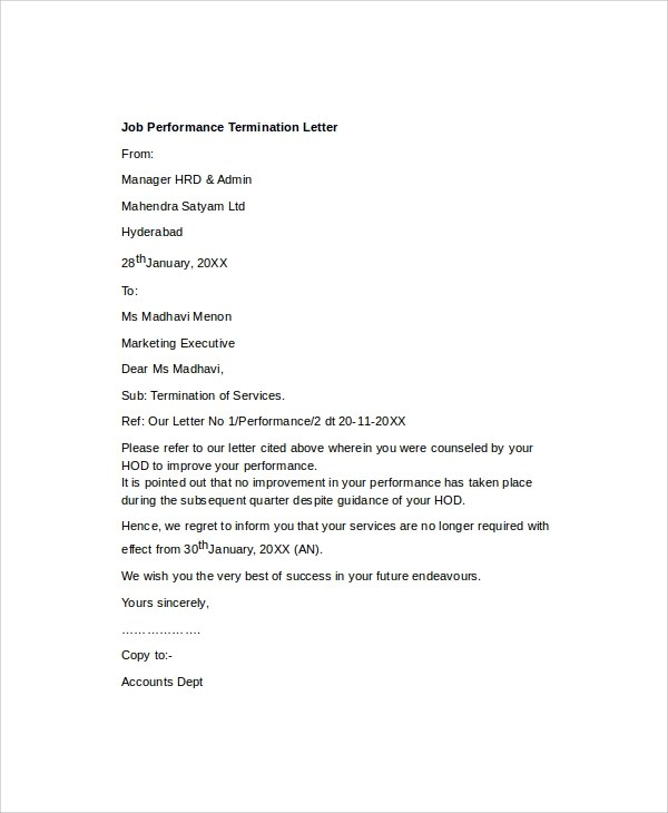 7+ Sample Job Termination Letters Sample Templates