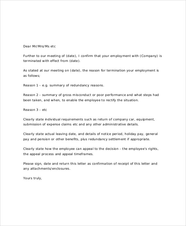 17 Job Termination Letter Samples  Templates Sample Templates