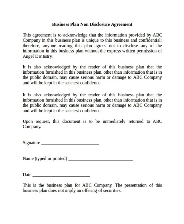 business non disclosure agreement - 28 images - non disclosure and