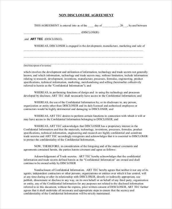 20+ Sample Non Disclosure Agreements Sample Templates