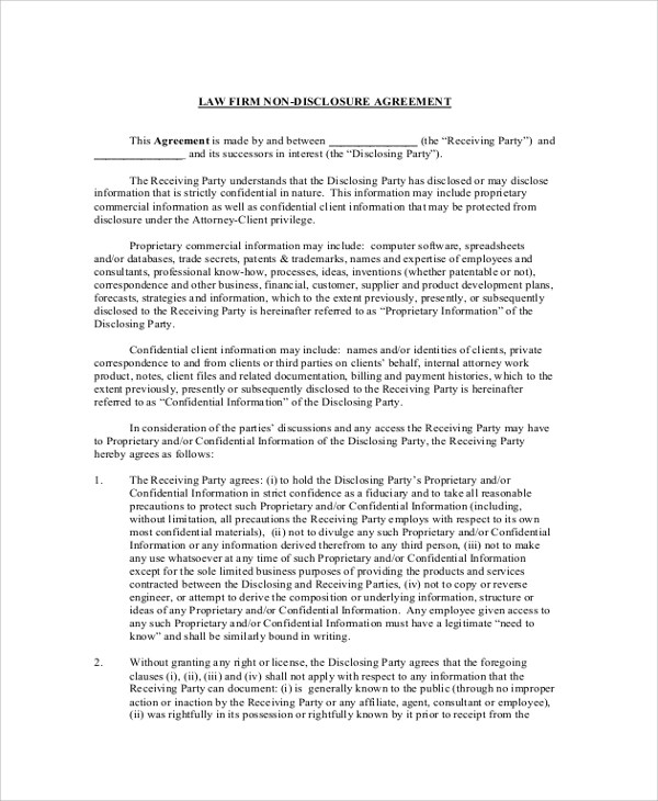 Software Development Non Disclosure Agreement Template Images