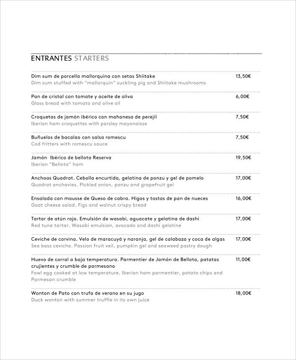 Sample Restaurant Menu - 7+ Documents in PDF, Word - menu list sample