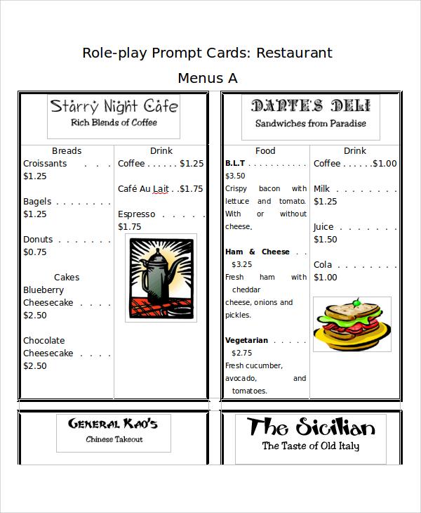 menu card example