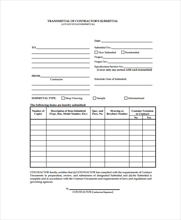 8+ Sample Submittal Transmittal Forms - PDF, Word