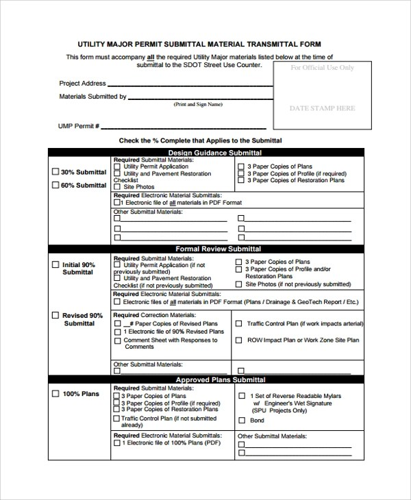 8+ Sample Submittal Transmittal Forms \u2013 PDF, Word Sample Templates