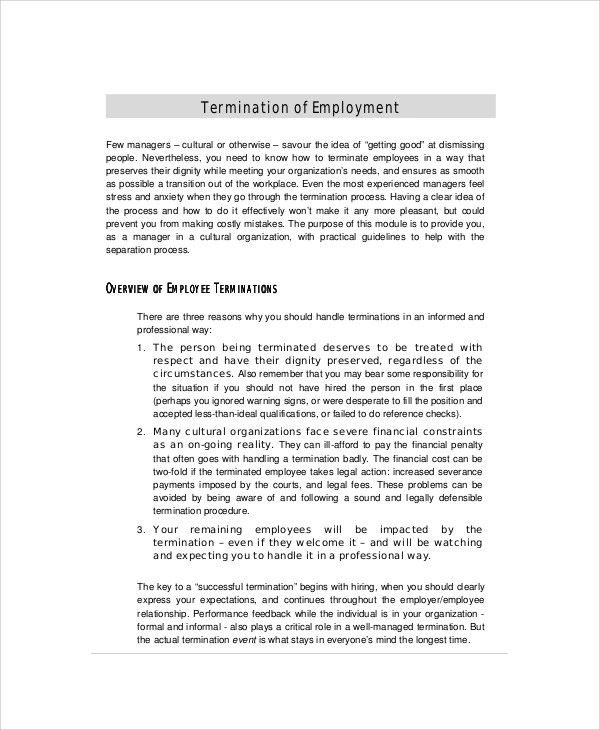 6+ Sample Employee Termination Letters Sample Templates - how to write a termination letter to an employer