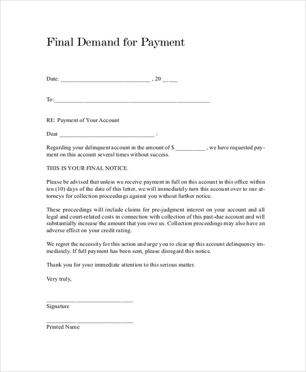 Sample Final Notice Letter - 9+ Documents in PDF, Word - sample final notice letter