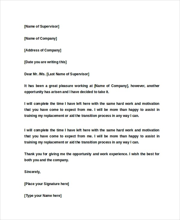 13+ Two Weeks Notice Samples  Templates - Google Docs, MS Word