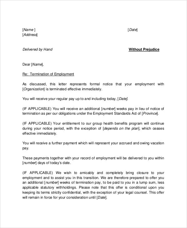 sample letter of recommendation for terminated employee