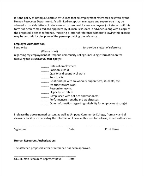 6+ Sample Employee Reference Letters Sample Templates - sample employment authorization form