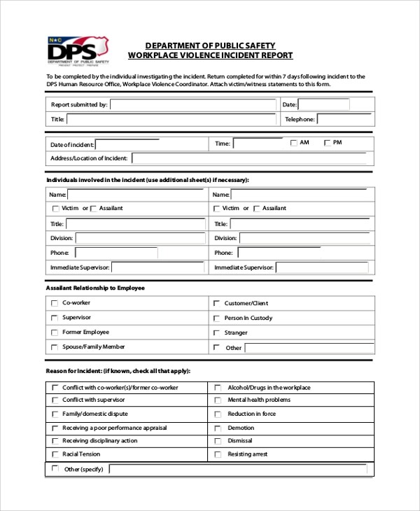 7+ Sample Incident Report Forms Sample Templates - incident reporting template