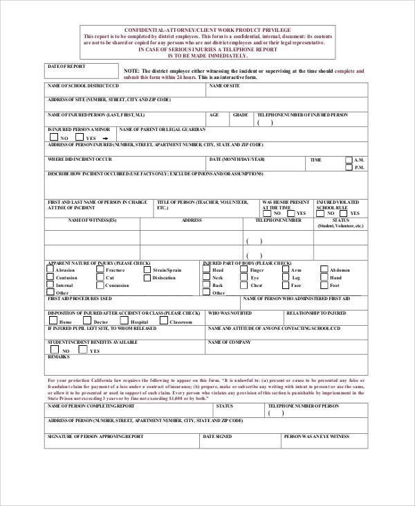 school incident report form - Onwebioinnovate